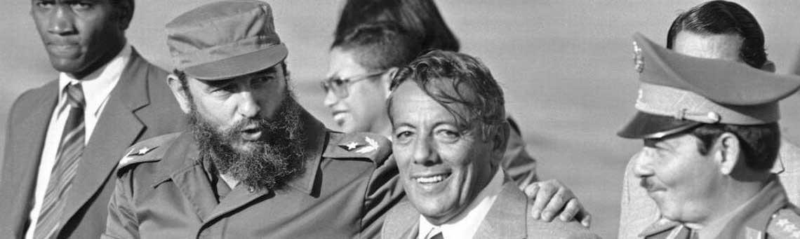 Los aliados Fidel Castro, Omar Torrijos y Daniel Ortega después del triunfo de la Revolución Nicaragüense.